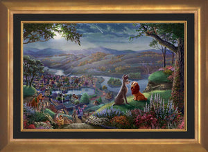 Lady and the Tramp sit gazing into each other's eyes and falling-in-love, they are seemingly unaware of the world around them - in Aurora Gold Frame