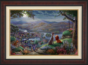 Lady and the Tramp sit gazing into each other's eyes and falling-in-love, they are seemingly unaware of the world around them - in Burl Frame