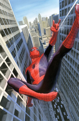 Learning to Crawl, Spider-Man swinging from building to building. Edition Size: 500, Limited Edition Giclee Canvas, Artist: Alex Ross
