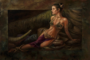 Princess Leia and the Gold Metal Bikini sitting in from of Jabba the Hut as he's? captive.