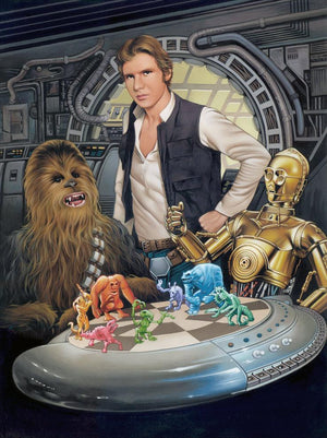 Han tells C3PO to let Chewbacca win, at the popular holographic board game called Dejarik.