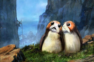 Two Porgs, small, flat-muzzled avian creature that roosts in the cliffs of Luke Skywalker's secluded island