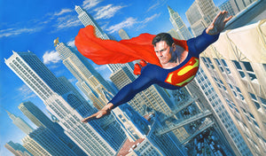 Superman patroling the skies over the city of Metropolis.