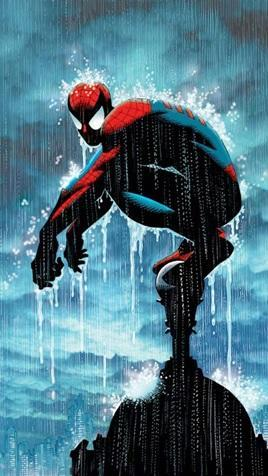 Spider-Man squat down on top of a high building as rain drips down on him.