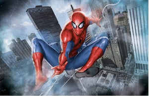 Spider-Man fly's through the city skyscrapers.