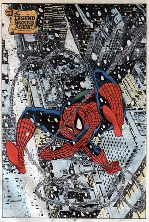 Spider-Man racing through the snow flakes.