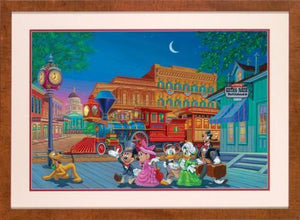Mickey, Minnie, Donald Duck, Daisy, Goofy, and Pluto arrive at the train station, all deck-out.