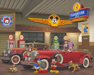 Mickey and friends hang out at the Classic Car auto club in their vintage cars.