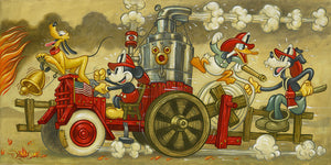 Firemen Mickey and friends are off to save the day in a vintage steam powered fire truck, with Pluto at the helm leading the brigade as he rings the bell.