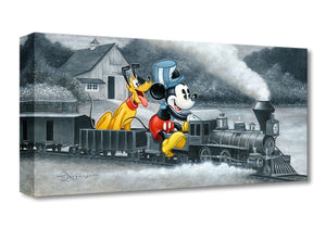 Mickey and Pluto riding an old locomotive train.