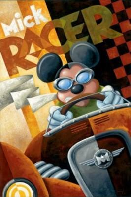 A vintage style poster featuring Mickey driving a vintage rooster race car, wearing his eye goggles.