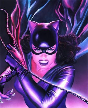 Catwoman in her tight one piece latex outfit bearing her bullwhip.
