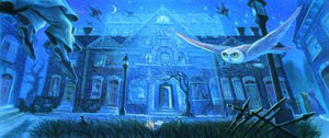 The hunting creatures fly around the mansion inthe mist of midnight blue hues night.