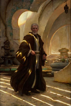 Obi-Wan Kenobi in Mos Eisley Spaceport in city of Tatooine.