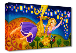 Painting Lights by Tim Rogerson.  Rapunzel, uses her hair as a rope to reach the tower walls, as she paints the lanterns on the mural-ed wall. Inspired by Disney's movie Tangled.