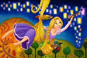 Painting Lights by Tim Rogerson.  Rapunzel, uses her hair as a rope to reach the tower walls, as she paints the lanterns on the mural-ed wall.