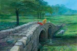 Winnie the Pooh, catches a fish as he sits on the edge of the arched river bridge fishing, as Tigger, Piglet and Eeyore look on.