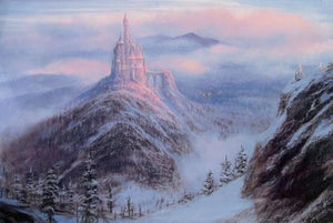 In the cold of winter and snow covered arrange, the Beast's mystical kingdom castle sits at the top of a mountainous peak.