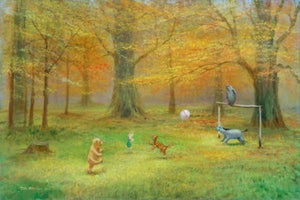 Winnie the Pooh, Tigger, Eeyore, and Piglet are playing ball as Owl watches from the goal post.