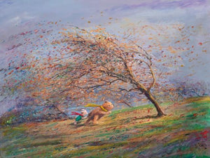 Winnie the Pooh and  Piglet battling the autumn's winds