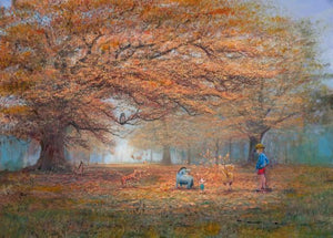 Winnie the Pooh, Tigger, Piglet, Eeyore and Christopher Robin enjoy playing on Autumn day