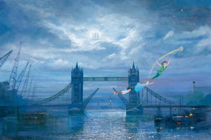 Peter Pan and Wendy, trying to escape the Jolly Roger brig and it's pirates, not far behind, as they fly under the London Bridge with Tinker Bell leading the way.