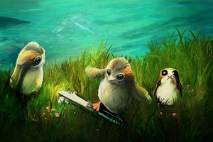 Three Porgs find a lightsaber among the grassy field