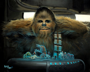 Chewbacca playing Dejarik aboard the Millennium Falcon, Inspired by Star Wars movie The Rise of Skywalker.
