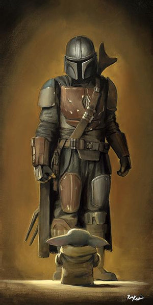 Mando, telling the Child to wait. Inspired by Star Wars movie series, The Mandalorian.
