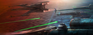 The X-wings fighter squadron on target