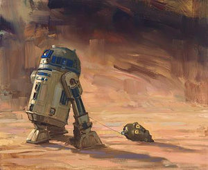 R2-D2 is dragging C3PO head