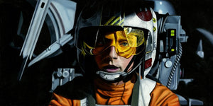 Young Luke Skywalker flying the X-wing starfighter