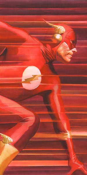 Shadows: Flash by Alex Ross.  Suiting up in his red costume with yellow lighting bolt, Barry Allen transforms from inconsequential mortal to The Fastest Man Alive and becomes one of the most beloved Superheroes, the Flash!