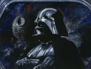 Darth Vader and the Death Star at a distance.
