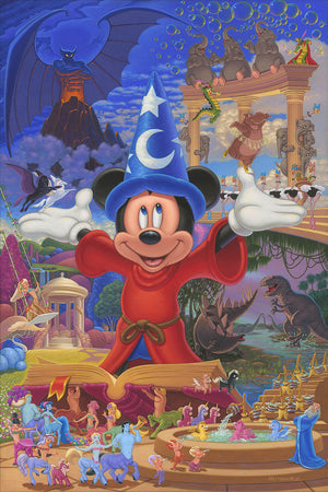 Disney Story of Music and Magic by Manuel Hernandez.    Featuring Mickey the Sorcerer and more than 60 individually illustrated and meticulously hand-painted characters, this intricately detailed tribute is bursting with color!