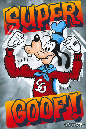 Super Good! by Trevor Carlton.  Goofy, is showing off his muscles in a red sweater and blue super cape.