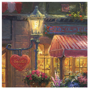 "On the far left side of the Thomas Kinkade Studios painting is a heart-shaped sign that says ""Sweetie 1929"" - closeup"