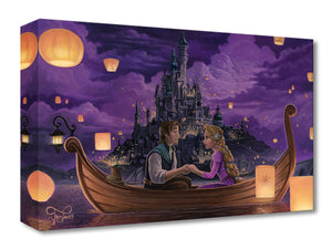 Rapunzel and Flynn share a special moment as they sit holding hands in a boat surrounded by lanterns flowing up into the night's sky, as the kingdom celebrates the annual birthday festival in honor of the lost Princess Rapunzel. Inspired by Disney's movie Tangled.