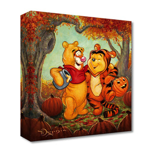 Friendship Masquerade by Tim Rogerson.   Winnie the Pooh and Tigger giggling as they dress-up in each others look alike costumes, ready for the big Halloween Trick or Treating night.