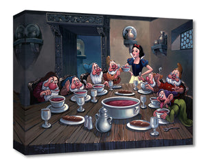 Soup for Seven by Rodel Gonzalez  Snow White serves soup her new found friends hungry, the Seven Dwarfs. Inspired by Disney Movie Snow White and the Seven Dwarfs.