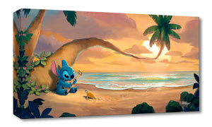 Stitch serenades his little friend the turtle with his ukulele, as they enjoy the sunset at the beach.