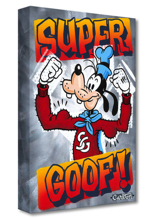 Super Good! by Trevor Carlton.  Goofy, is showing off his muscles in a red sweater and blue cape.