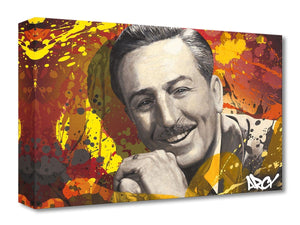 Walt Disney by Arcy  A sepia-tone portrait of Walt Disney, with a colorful backdrop.