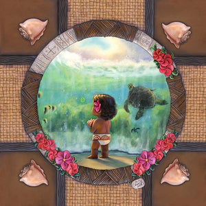 Features a younger Moana, watching the sea turtle swim beneath the sea, a poignant moments from Disney's Moana.