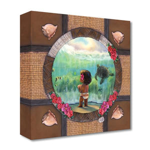 Features a younger Moana, watching the sea turtle swim beneath the sea water, a poignant moments from Disney's Moana. - Gallery Wrap