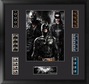 features a collage of the film's major characters: Batman, the Cat, and Bane.