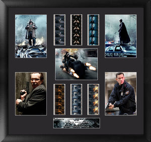 features heroes - Batman, the Cat, John Blake, James Gordon, and villain Bane from the movie film.