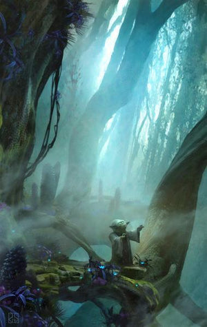 Yoda harnesses the power of the Force in the swamps of planet Dagobah