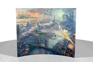 Tinker Bell and Peter Pan Fly to Neverland curved glass print