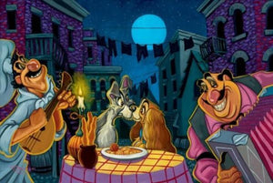Lady and the Tramp being serenaded by Tony and his chef under the moonlit